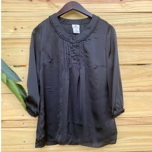 Covington 3/4 Sleeve Black Tunic Top Size S